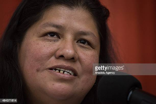 Mexican journalist Norma Trujillo speaks during a press conference held by journalists with the support of PEN International and the Commitee to...