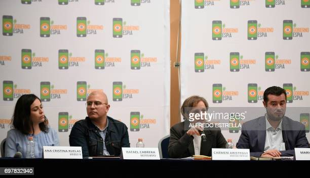 Mexican journalists Ana Cristina Ruelas Rafael Cabrera and Carmen Aristegui and the director of Mexican Human Rights Center Miguel Agustin Pro Juarez...