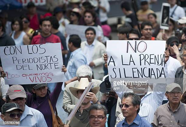Mexican journalists protest against violence towards journalists in Mexico on August 7 2010 in Mexico City The protest was triggered by the abduction...