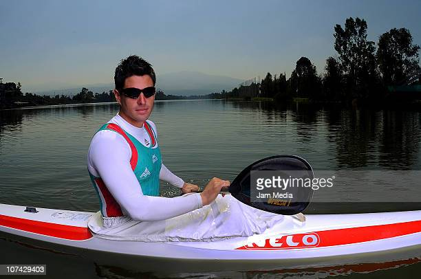 Mexican kayaker Manuel Cortina poses during a photo session at Olympic Track Cuemanco on December 8, 2010 in Mexico City, Mexico. Miguel Cortina won...