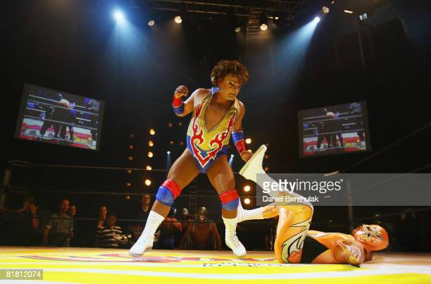 Mexican Lucha Libre crossdressing wrestler Cassandro performs for the media during a press call on July 3 2008 in London England The Lucha Libre...