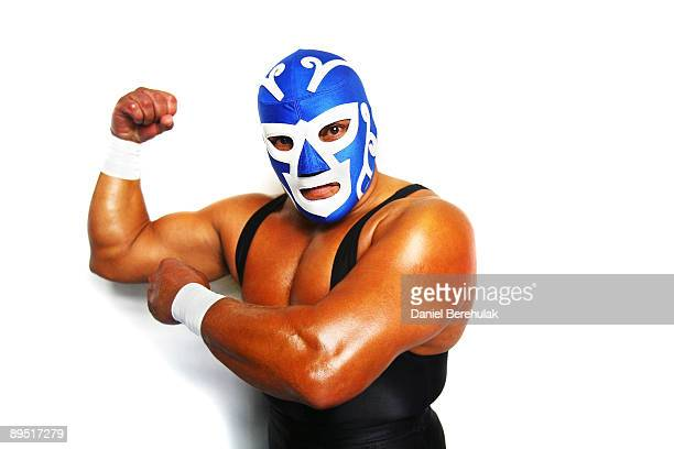 Mexican Lucha Libre Wrestler Huracan Ramirez poses backstage for a portrait at the Roundhouse in Camden on June 5 2008 in London England
