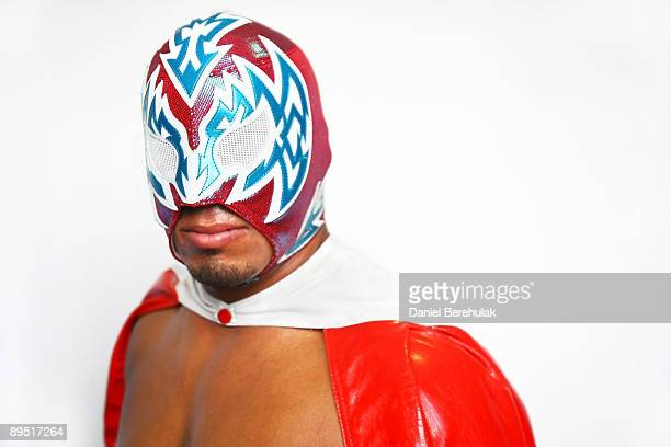 Mexican Lucha Libre Wrestler Incognito poses backstage for a portrait at the Roundhouse in Camden on June 5 2008 in London England