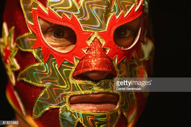 Mexican Lucha Libre wrestler looks on during a press call on July 3 2008 in London England The Lucha Libre authentic Mexican free wrestling features...