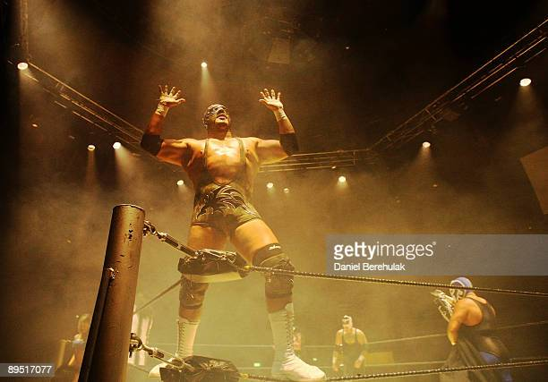 Mexican Lucha Libre Wrestler Silver King celebrates after a win at the Roundhouse in Camden on June 5 2008 in London England The Silver King is son...