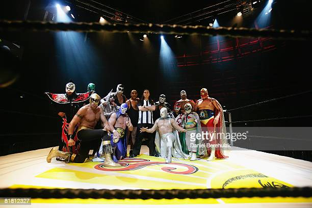 Mexican Lucha Libre wrestlers pose for the media during a press call on July 3, 2008 in London, England. The Lucha Libre, authentic Mexican free...