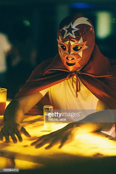 mexican luchador at a bar - drunk mexican stock pictures, royalty-free photos & images