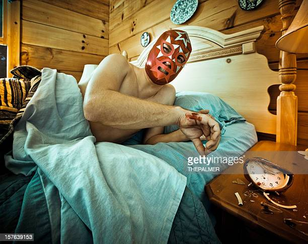 mexican luchador waking up in the morning