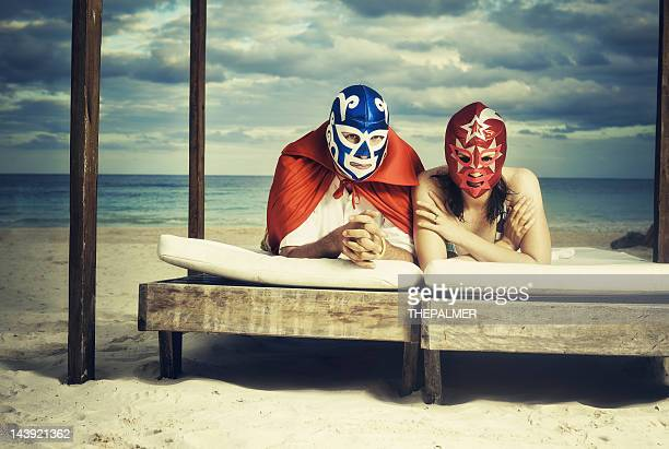 mexican luchadores on honey moon - face guard sport stock pictures, royalty-free photos & images