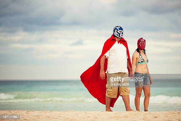 mexican luchadores on honey moon - female wrestling stock photos and pictures