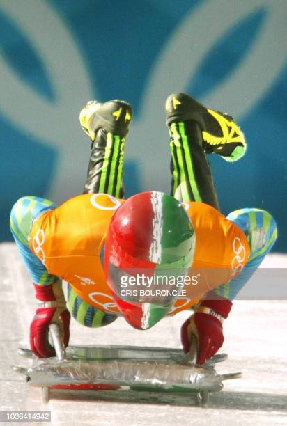 Mexican Luis Carrasco speeds through the ice channel during a men's skeleton training during the Salt Lake 2002 Olympic Winter Games at the Utah...