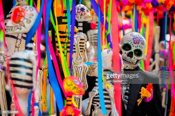 Mexican man dressed as a skeleton walks through the streets during the Day of the Dead parade on October 29 2016 in Mexico City Mexico Day of the...