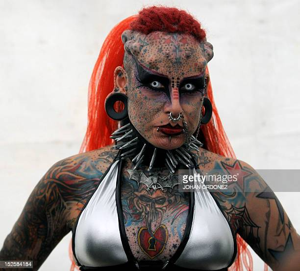 Mexican Maria Jose Cristerna known as Vampire Woman Guinness World Record for being the woman with more changes in her body in America poses for...