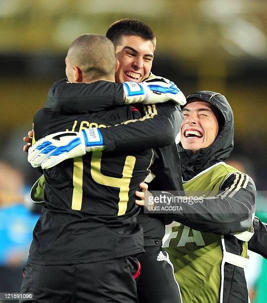 Mexican midfielder Jorge Enriquez celebrates with teammates after scoring against France during the FIFA 2011 Under-20 World Cup third place football...