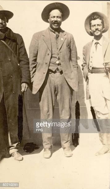 Mexican military commander Pancho Villa and two of his commanders, General Toribio Ortega and Colonel Ortega, 1913.