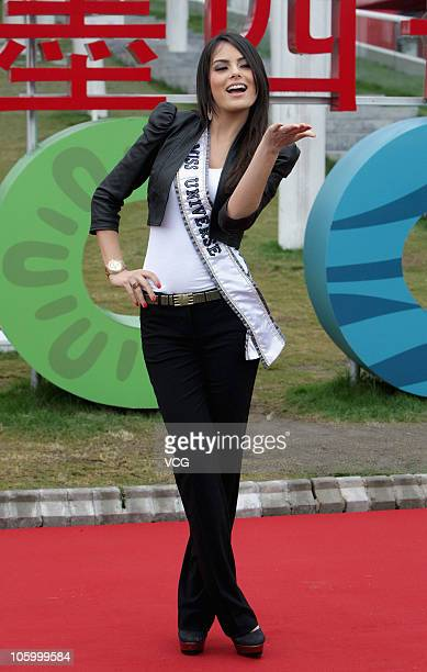 Mexican model and the current holder of the Miss Universe 2010 crown Jimena Navarrete attends a fashion show during her visit to the Mexican Pavilion...