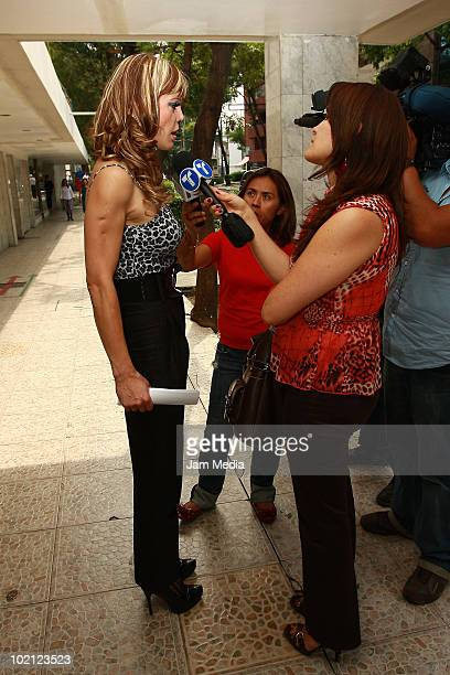 Mexican model Carmen Campuzano speaks to press at Hospital Santa Elena on June 11 2010 in Mexico City Mexico