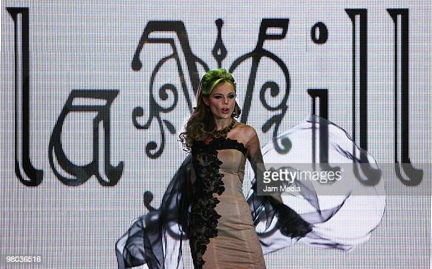 Mexican model Carmen Campuzano walks the runway during the fashion show of Mexican designer Artemiza Cruz for La Vill on March 24 2010 in Mexico City...