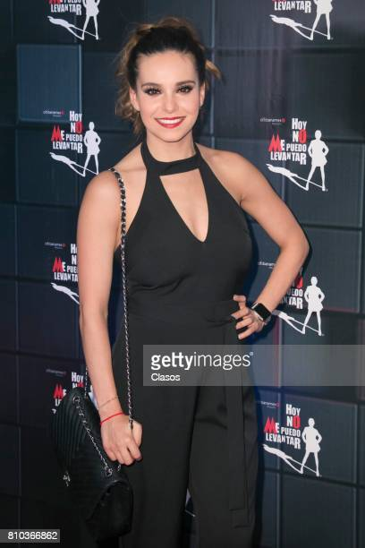 Mexican model Tania Rincón poses from the red carpet during the 'Hoy No Me Puedo Levantar' musical premier at Aldama Theter on July 06 2017 in Mexico...
