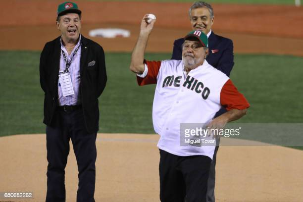 Mexican multimillionaire Carlos Slim trows the first ball during the open ceremony of the World Baseball Classic Pool D Game 1 between Italy and...