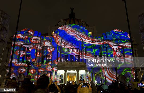 Mexican Museum of Fine Arts is illuminated with lights of Miguel Chevalier installation in the framework of the Mexican International Festival of...