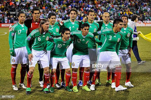 Mexican National Team lines up before the game against USA during a FIFA 2010 World Cup qualifying match in the CONCACAF region on February 11 2009...