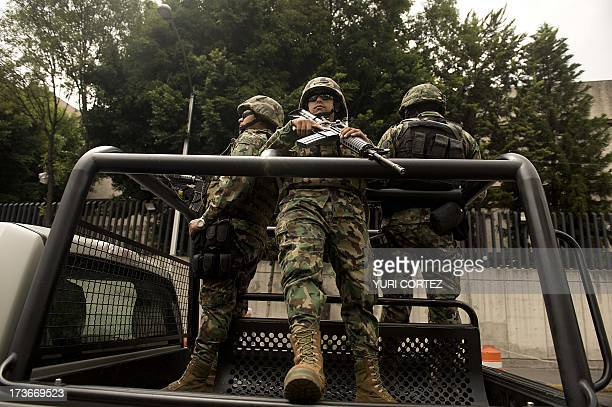 Mexican Navy marines patrol in a truck the surroundings of the Deputy Attorney Specialized in Investigation of Organized Crime headquarters, where...