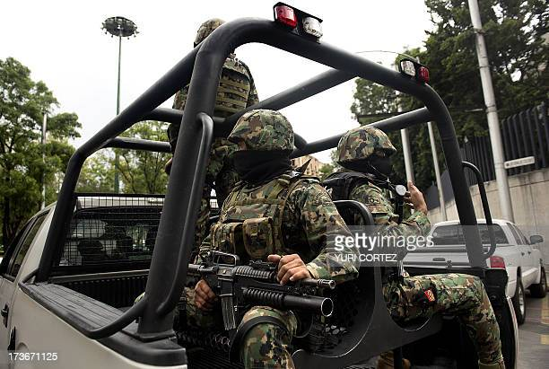 Mexican Navy marines patrol in a truck the surroundings of the Deputy Attorney Specialized in Investigation of Organized Crime headquarters where the...