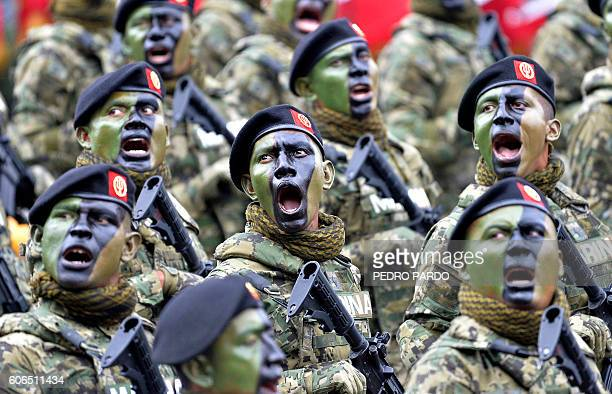 TOPSHOT Mexican Navy special forces march during the parade celebrating a new anniversary of the country's independence at Zocalo Square in Mexico...