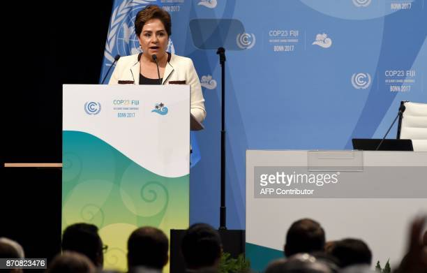Mexican Patricia Espinosa Cantellano current executive secretary of the United Nations Framework Convention on Climate Change holds a speech during...