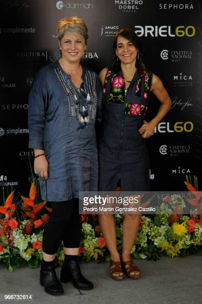 Mexican photographer and documentalist Maya Goded poses with the film editor Valentina Leduc from the film 'Plaza de la Soledad' nominated for Best...