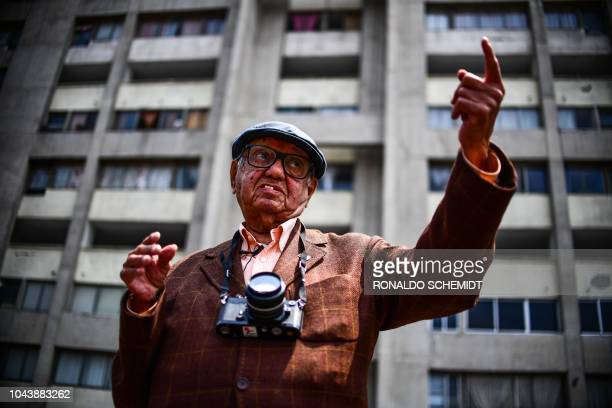 TOPSHOT Mexican photojournalist Jesus Fonseca who witnessed and registered the Massacre of Tlatelolco speaks during an interview at the Tres Culturas...