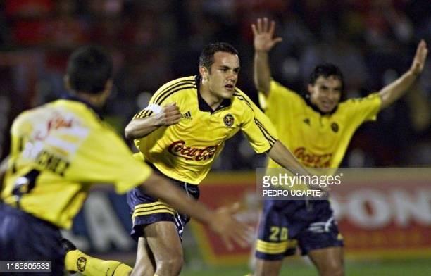 Mexican player Cuauhtemoc Blanco celbrates the second goal for his team, 09 May 2000 in Bogota. El jugador mexicano de las Aguilas del America de...