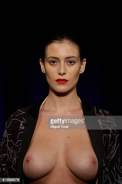 Mexican Playmate Alejandra Guilmant walks the runway at Marika Vera show during Mercedes-Benz Fashion Week Mexico Spring/Summer 2017 on October 10,...