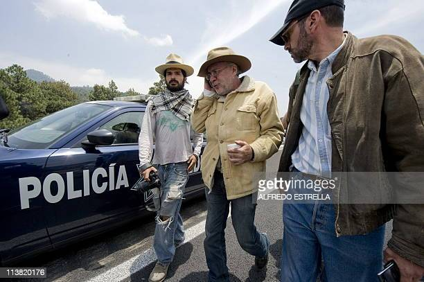 Mexican poet and journalist Javier Sicilia whose son Juan Francisco Sicilia was murdered on March 27 and other activists take part in the second day...
