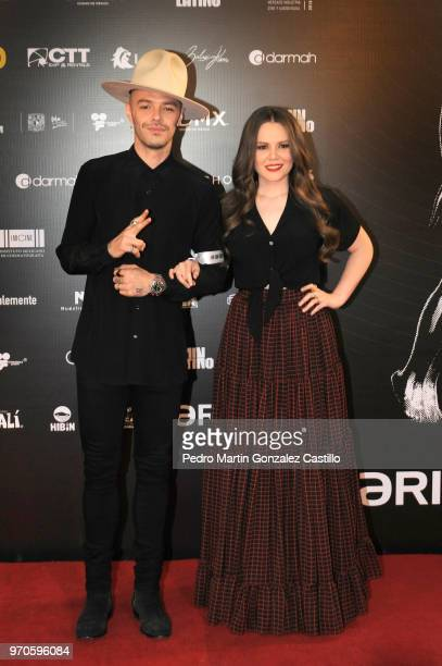 Mexican Pop Duet Jesse Joy pose during the Red Carpet of 60th Ariel Awards at Palacio de Bellas Artes on June 5 2018 in Mexico City Mexico