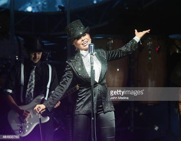 Mexican pop star Gloria Trevi performs at City National Civic on August 22 2015 in San Jose California
