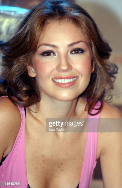 Mexican Pop Star Thalia during Mexican Pop Star Thalia Attends a Promotional Photocall for her Last CD Thalia at El Garage Studio in Madrid in Madrid...