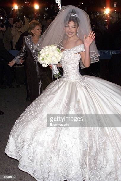 Mexican pop star/actress Thalia arrives at St Patrick's Cathedral in New York City for her wedding to Sony Music CEO and Chairman Tommy Mottola...