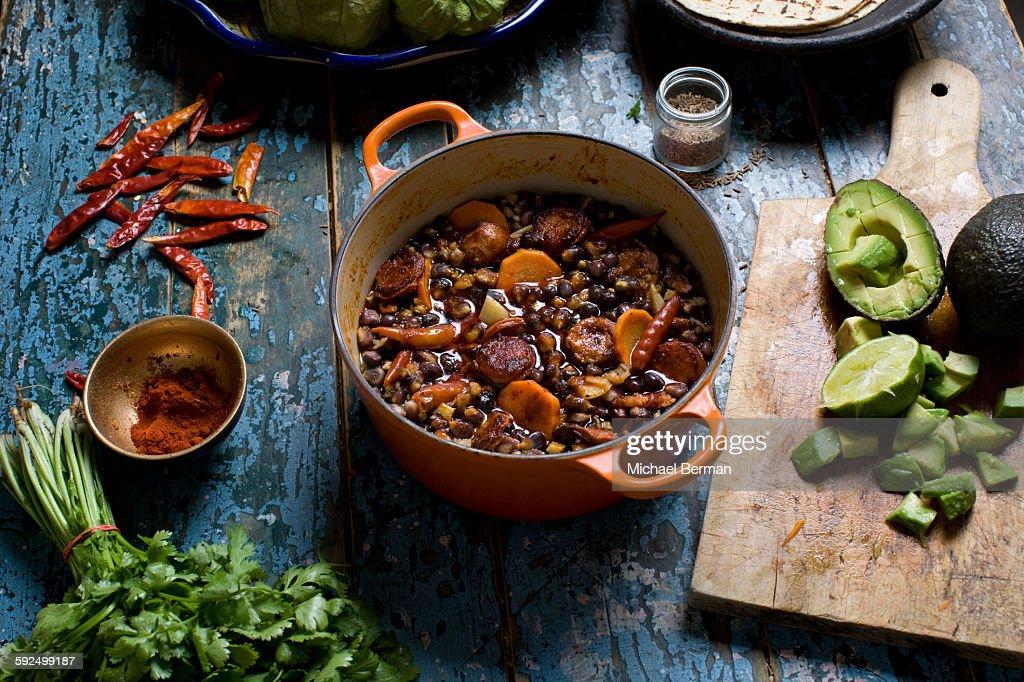 Mexican Pozole with Chorizo : Stock Photo