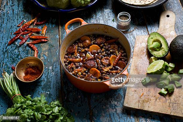 mexican pozole with chorizo - chili stock photos and pictures