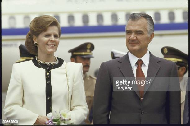 Mexican Pres Miguel de la Madrid and wife Paloma at arrival ceremony in Guatemala