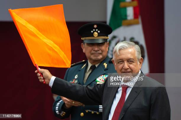 Mexican President Andres Manuel Lopez Obrador attends an official event to mark the beginning of the construction of a new international airport at...