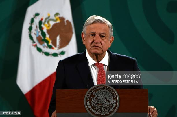 Mexican President Andres Manuel Lopez Obrador delivers a press conference about the results of Sunday's midterm elections at the National Palace in...