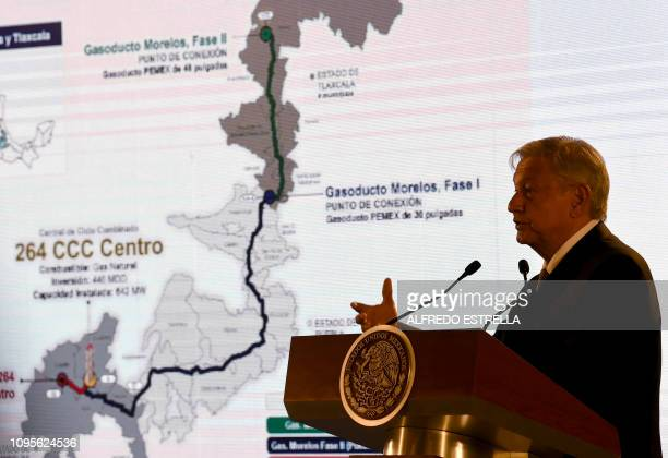 Mexican President Andres Manuel Lopez Obrador speaks during a press conference at the Palacio Nacional in Mexico City on February 08 2019 Lopez...