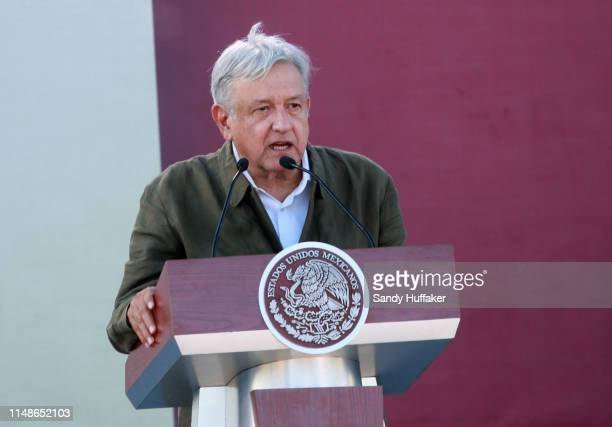 Mexican President Andres Manuel Lopez Obrador speaks during a unity rally on June 8 2019 in Tijuana Mexico Lopez Obrador committed to defending...
