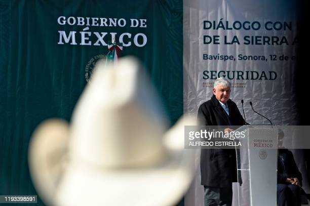 Mexican President Andres Manuel Lopez Obrador speaks during an event at La Mora ranch Bavispe Sonora state Mexico on January 12 2020 Lopez Obrador is...