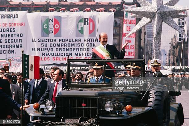 Mexican President Carlos Salinas Following His Victory