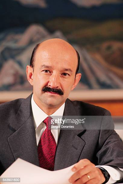 Mexican President Carlos Salinas in His Office