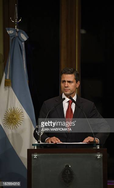 Mexican president elect Enrique Pena Nieto gives a press conference after meeting with Argentine President Cristina Kirchner at the government house...